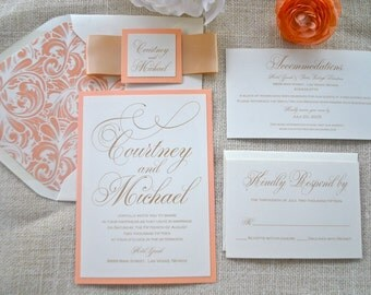 Peach and Gold Wedding Invitation- Pretty Script (NOT A SAMPLE LISTING) -Colors/wording/materials Customizable- Blush, Taupe, Coral, Ivory