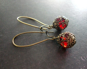 Romantic Red Victorian Drop Earrings - Long Ear Wire Swarovski Victorian Earrings Blood Red Gothic Earrings Antique Brass Victorian Jewelry