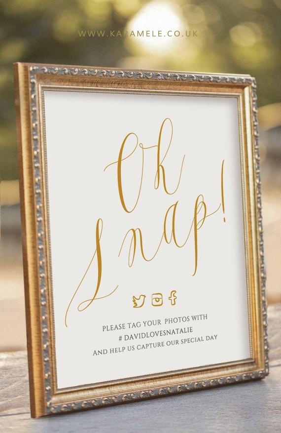 ELEGANT Oh Snap Printable Social Media Wedding Sign Digital