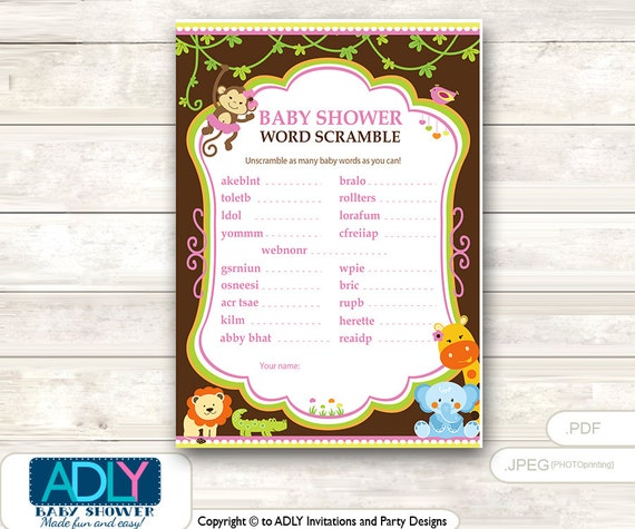 Items Similar To Word Scramble Baby Shower Game Girl