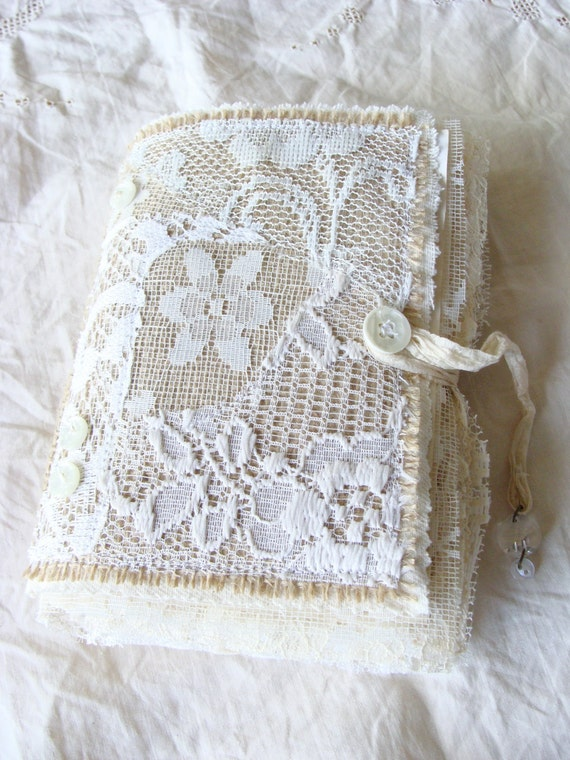 Retro Book Cover Tutorial : Handmade journal burlap lace fabric book handcrafted vintage