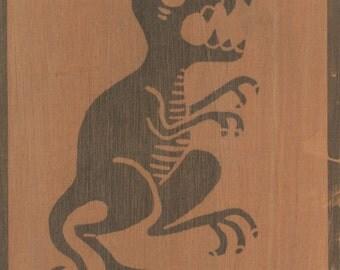 Dinosaur. B/W print on wood.