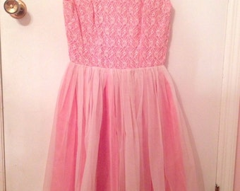 Late 50s early 60s pink party dress with matching clutch