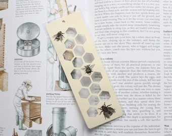 Honey Bee Silhouette paper cut Bookmark, honey comb and honey bees to mark your place in your favourite books