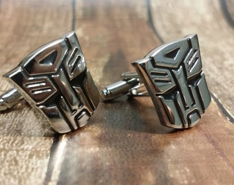 Transformer Optimus Prime Movie Cufflinks , with a Gift Box - Unique Silver Cuff Links,