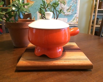 Vintage Orange Fondue Pot - Great Color