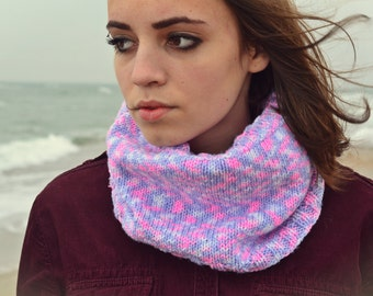 FREE SHIPPING - knitted cowl scarf, handmade wool tube scarf