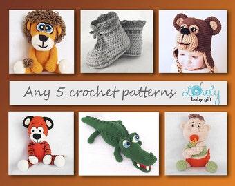 Crochet Pattern, Amigurumi, Animal, Amigurumi Pattern Deal, 5 Crochet Patterns