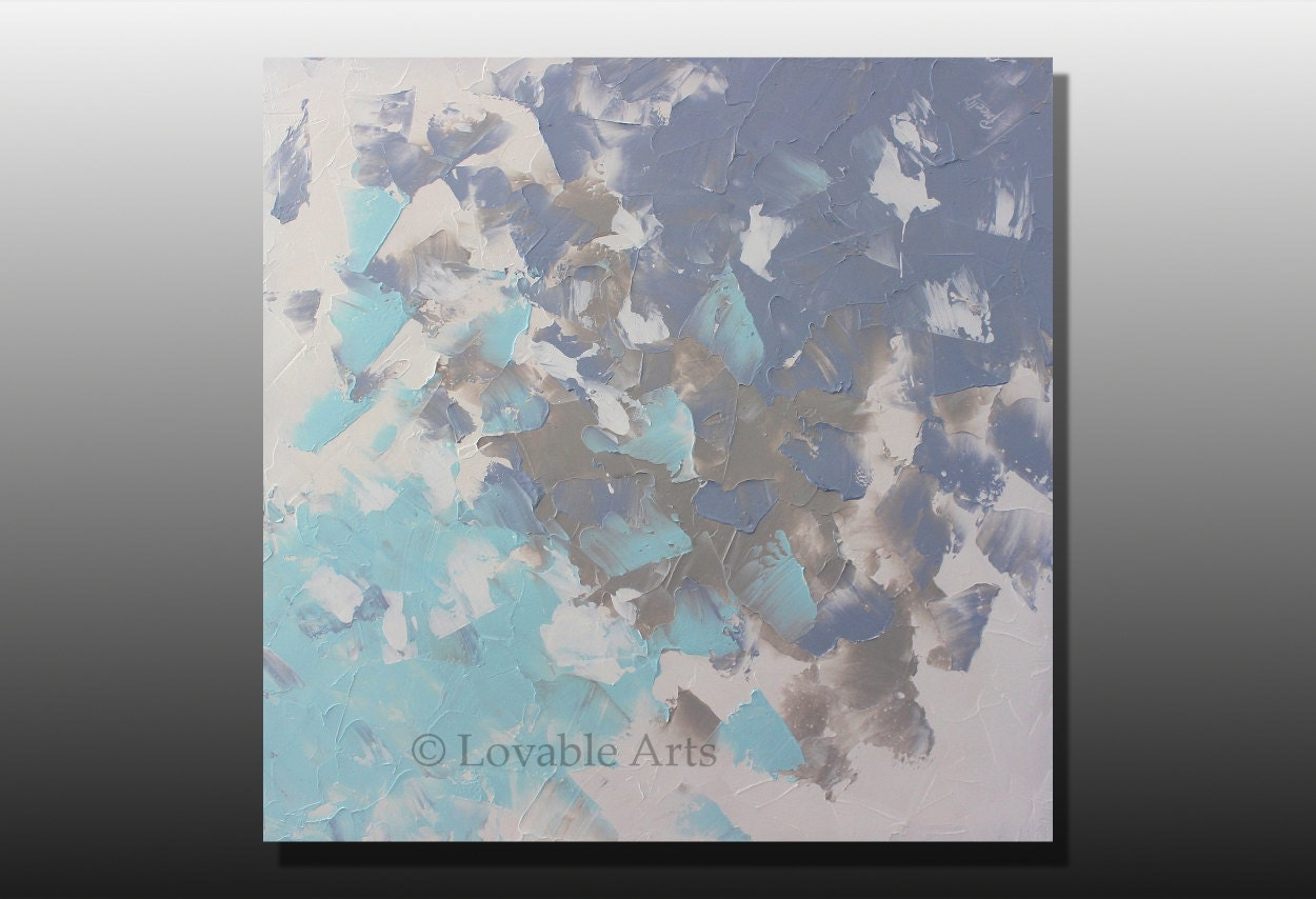 ORIGINAL blue and gray Abstract Painting 36 light blue