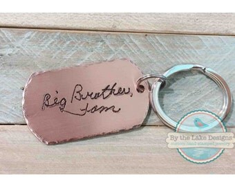 your loved ones actual signature on a copper key chain
