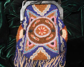 Antique Art Nouveau Heavy Every Color You Could Want Beaded Pattern Purse, c. 1900