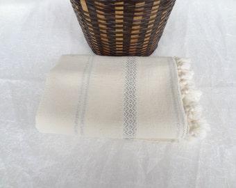 100% Cotton Peshtemal, Turkish PESHTEMAL, Ecru,Lame Embroidery Peshtemal-Spa,Bath,Beach,Yoga,Pool,Fitness Towel