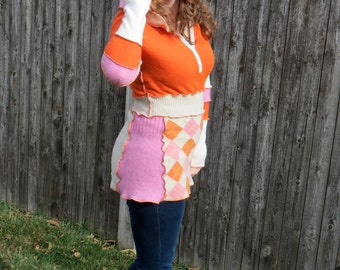 Orange + Pink Argyle Cashmere Hooded Tunic