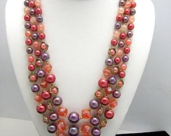 Vintage Japan Triple Strand Mixed Bead Necklace Pink Purple