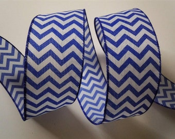 """Blue and White Chevron Wired Ribbon, 2.5"""""""