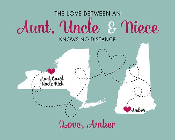 gift for aunt and uncle custom art print maps personalized. Black Bedroom Furniture Sets. Home Design Ideas