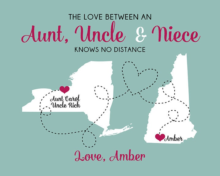 Quotes For Niece From Aunt: Gift For Aunt And Uncle, Custom Art Print Maps