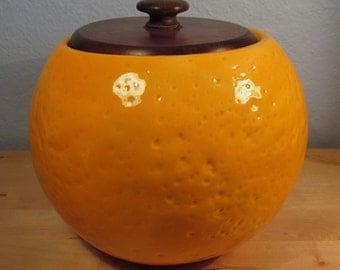 Ceramic Orange Canister - Orange Cookie Jar - Life Like Orange - Made in USA