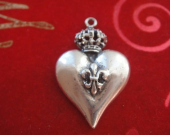 925 sterling silver crown heart with fleur de lis, silver crown heart, crown heart, silver heart