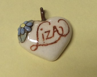 Liza----Vintage Ceramic Heart Name Pendant for Necklace Jewlery Accessories Gift Ideas