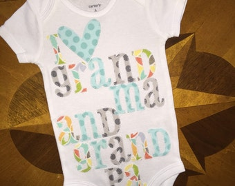 I love grandma and grandpa onesie in beautiful pastel gender neutral colors thats been appliqued and personalized for your baby