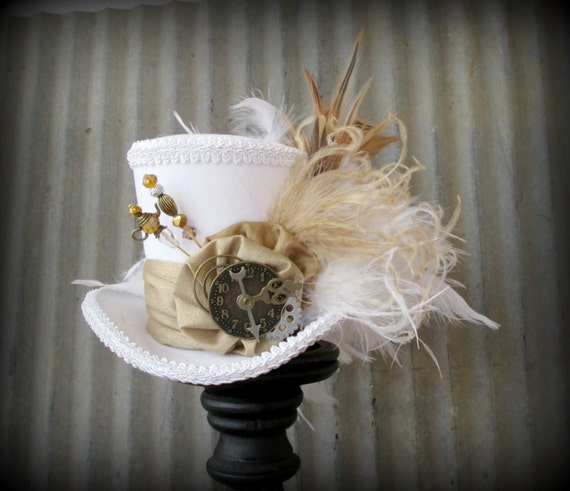 The White Rabbit in Gold Mini Top Hat, Alice in Wonderland Mini Top Hat, Kentucky Derby Hat, Steampunk Hat, Gear Hat, Mad Hatter Hat, Bridal