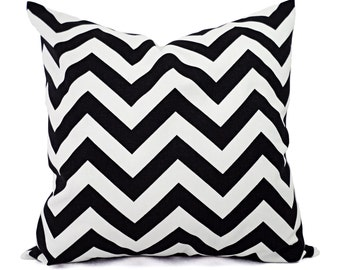 2 Black Chevron Decorative Pillow Covers Black and White - Throw Pillow Cushion Cover - Black Chevron Pillow Cover