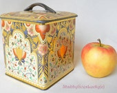 Tin canister box German vintage marked lithographed 1960s Faber Kaffee Bremen coffee tin can box, shabby decoration tin with handled lid