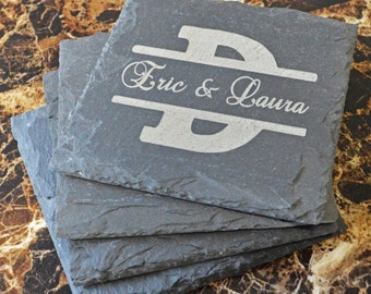 Personalized Laser Engraved Slate Coasters Set of 4