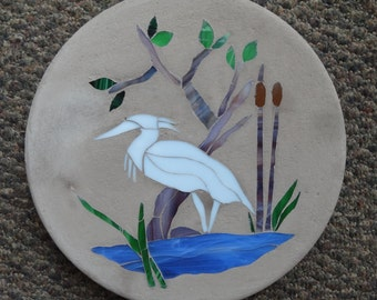 Stained Glass Heron  Bird Stepping Stone