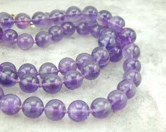 Simple Hand Knotted Amethsyt Bead Necklace E4KX3R-N