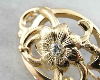 Vintage Botanical Brooch With Diamond Accent 26W88E-D