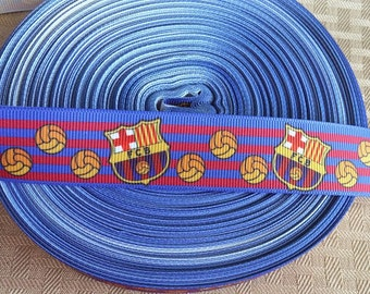1' 2 yards of Barcelona ribbon- soccer ribbon- crafting ribbon-