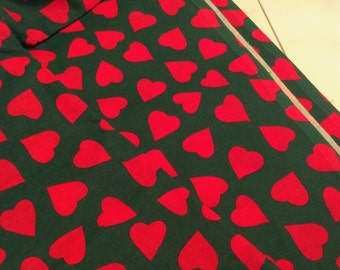 60s vintage fabric with hearts. Made in Sweden. Unused from bolt.