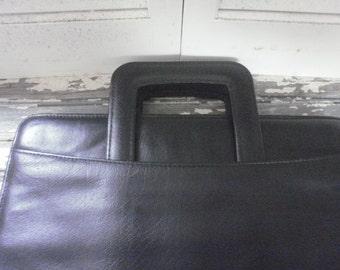Vintage Retro Black Leather Portfolio Attache Laptop Case-Retractable Handles-Briefcase- Compartments