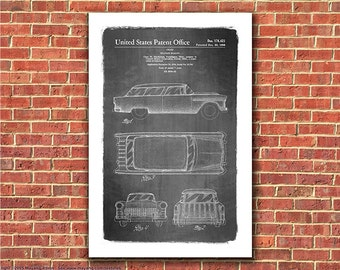 1955 Chevy Nomad Station Wagon Automobile Patent Art Print