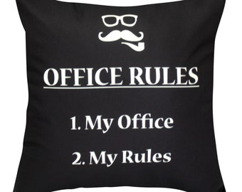 Office Rules Throw Pillow Cover  With Invisible Zipper No Pillow Inserts 057POHW1818K