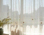"""2 x Tab Top French Country Linen Look Crochet Lace Cutwork White Curtain Panel 010 59""""x70"""""""