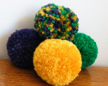 4 Handmade1.75 inch Mardi Gras Yarn Cat Toy Pom Pom Balls Without Catnip - Colors: Purple Gold Green