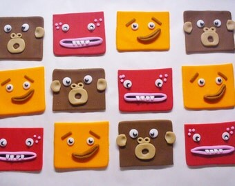 BIG BLOCK Sing Song Edible Fondant Cupcake Toppers