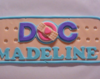 Edible Fondant DOC MCSTUFFINS Inspired Logo Band Aid Cake Topper with Name