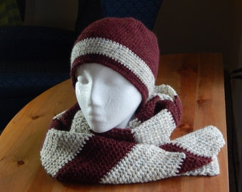 Maroon/Cream Crocheted Hat and Scarf Set