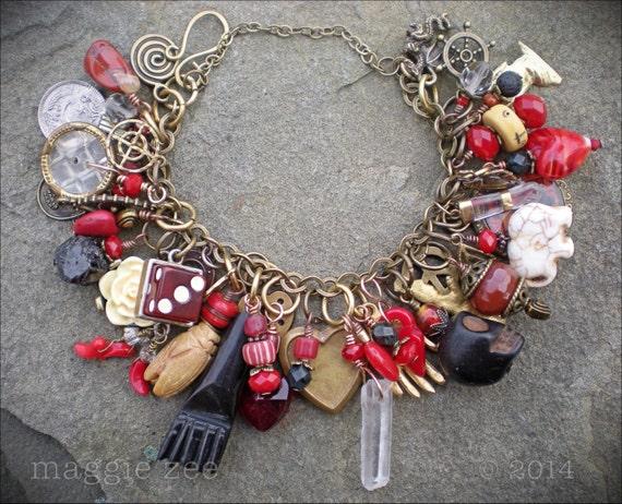 lucky in love heart mojo charm amulet bracelet