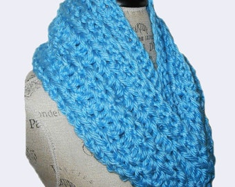 Infinity Scarf Cowl Long Hand Made in USA Chunky Crochet Infiniti Scarf Knit Loop Circle Soft Bulky Bright Blue Excellent Gift Idea