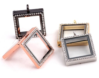 Floating Charms Locket Square Locket Necklace Pendant, 30mm, 4 Colors FLPT11