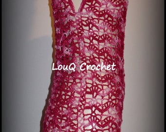 Red and pink lace tunic