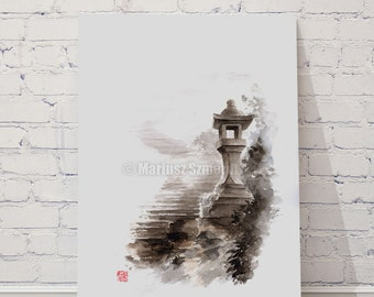 Japanese lantern art, Original watercolor painting for sale