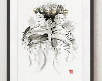 Geisha Nudity Painting Japanese Girls Art Print Wall Art Decor Abstract Art
