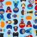 Super Kids by Ann Kelle - fabric - adventure boy heros BLUE - Robert Kaufman  -  fabric - HALF Yard