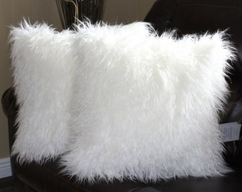 Faux Fur Mongolian White Pillow Cover 18 x 18 in. - Set of 2